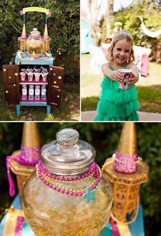 Jasmine's Oasis Drink Station for a Sparkly Princess Party by HWTM