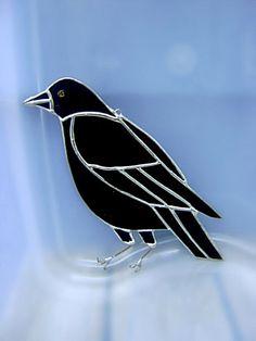 Crow Raven Stained Glass OOAK Original Design by GothicGlassStudio, $49.00