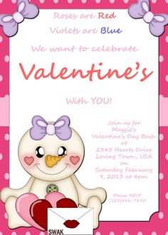 Valentine Party Invitation Customized DIY by craftiechicks on Etsy, $15.00