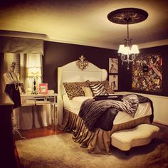Ireland's Chanel themed bedroom with houndstooth curtains and wingback headboard-black and white