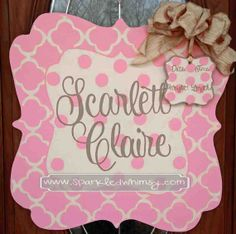 Personalized Quatrefoil Baby Sign For Hospital Door (Light Pink/Cream) on Etsy, $45.00