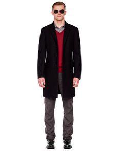 Michael Kors Melton Crombie Coat, Tipped V-Neck Merino Sweater, Contrast-Check Woven Shirt & Flannel Cargo Pants .