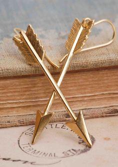 Golden ARROW Earrings Cupid Arrow Valentine