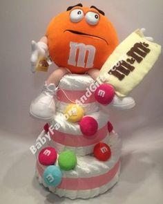 M&M's-candy Diaper Cake - Babyfavorsandgifts #pink #M&M