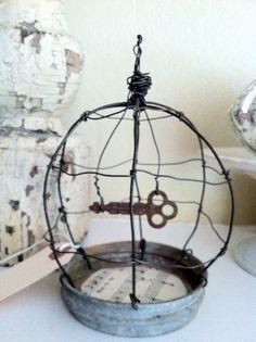 Vintage Zinc Canning Jar Lid Wire Birdcage by TrueNorthInteriorDes, $25.00 so very clever!