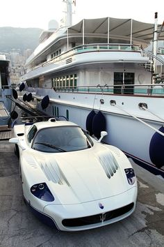 Living the Supercar lifestyle with a Maserati MC12 by the private yacht (of course..) Click for travel inspiration... #style #Maserati