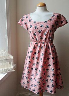 Tea Dress with Pink Birds