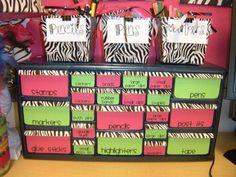 Organization for classroom supplies