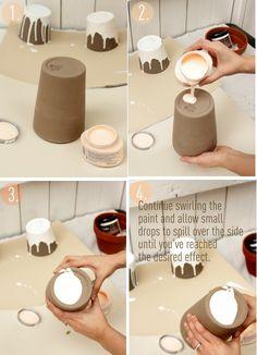 Paint Dipped Ceramic Pots DIY