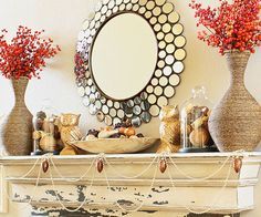 "You don't need to ""go rustic"" to have great fall decor! Try glitz and glamour here: http://www.bhg.com/thanksgiving/decorating/fall-mantel-decorating-ideas/?socsrc=bhgpin080814goldandglamfallmantel&page=2"