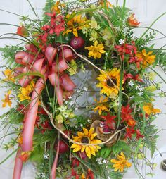 XXL Summer Wreath with Sunflowers and a Friendly Red Bird by LadybugWreaths, $249.97