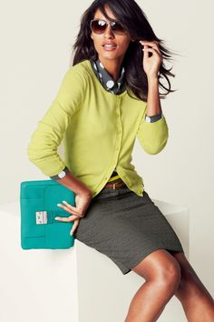 We wouldn't suggest walking in the door with this model pose... but we like the outfit! polka dots, color combos, everyday work, outfit, work wear, buttons, lime green, pencil skirts, belts