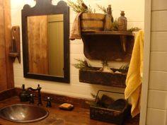 . mirror, primitive bathrooms ideas, primit display, prim bathroom, bathroom idea, sink, shelv, bathroom display, primit bathroom