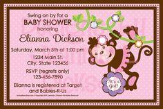 Monkey Invitation Birthday Baby Shower