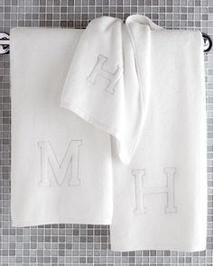 All white #monogrammed #bath #towel