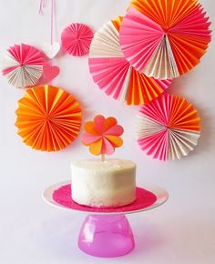 Neon Party Fans and cupcake topper...tutorials at Rock Paper Scissors blog.