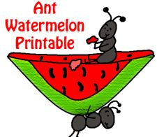 Church House Collection Blog: Ant Eating Watermelon Cutout Printable Template Craft For Kids-Proverbs 6:6 Summer Activities #ant #crafts #printable #template #watermelon #sunday #school