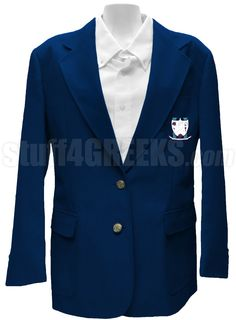 Navy blue Gamma Phi Omega Sorority blazer jacket with the crest on the left breast.