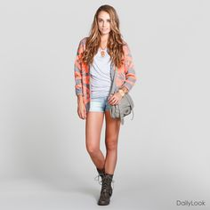 Tribal Print Peach & Gray Oversized Cardigan + Gray Tee + Peach Gold Chain Necklace + Stacked Gold Bracelets + Light Wash Denim Shorts + Combat Boots + Gray Messenger Bag