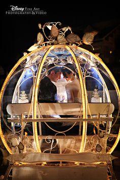 A nighttime ride in Cinderella's Coach - how romantic! #Disney #wedding #Cinderella #carriage #coach