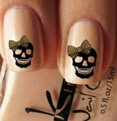 Simple Skull Nails, By Styles At Life #nails #nailart #skullnails #nduenails #bownails - Bellashoot.com