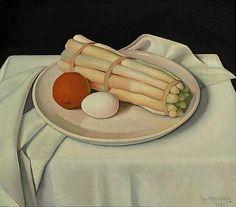 Still life with Asparagus, Orange and Egg - Jan Wittenberg 1931