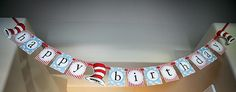 Dr. Seuss themed first birthday party cat in the hat banner
