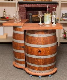 You are sure to find a great spot in your home for this ingenious Wine Barrel Portable Folding Bar!