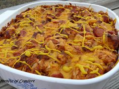 Chili Cheese Dog Casserole.  Made this for dinner tonight.  It was a HIT, and so easy!!