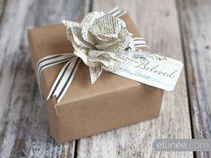 DIY paper rose gift wrapping [create] | ballarddesigns.com