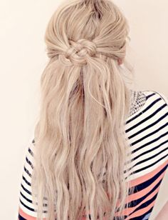 This woven knot gives a half-up hairstyle a nautical feel!