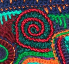 Learn different ways of surface embellishing freeform crochet~                                                  {embroidery, weaving,buttons,beads,stem stitch, crab stitch, etc.}