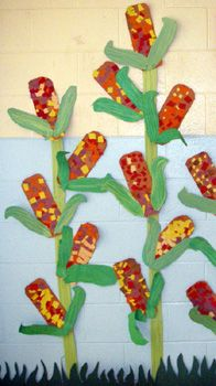 Corn art table, fall harvest, farm unit, kindergarten art, harvest corn, fall bulletin boards, fall art projects, hallway art, harvest crafts