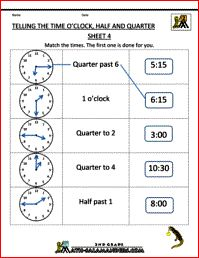 Telling Time Worksheets - O'clock, Half and Quarter Sheet 4