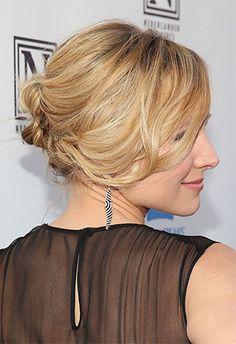 Kristen Bell's chic undone chignon | Brides.com wedding hairstyles, celebrity weddings