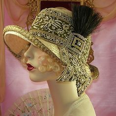 Vintage Flapper Hats for Women | 1920's Vintage Style Feather Beaded Buckle Cloche Flapper Hat | eBay