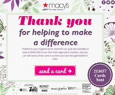 """Check out how #Macys used Facebook to raise $400,000+ for 5 mom-approved charities through its """"Thank you, Mom"""" #MothersDay campaign #FWB40 contest fundrais, mothersday campaign, momapprov chariti, campaign fwb40, rais 400000, facebook contest"""