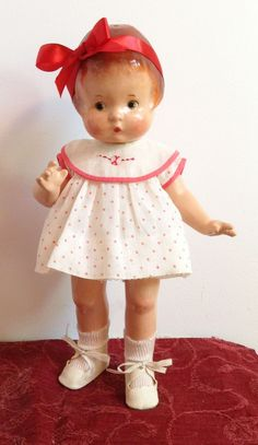 Effanbee Patsy, 14 inches tall, tagged Effanbee dress. She's a little beauty.