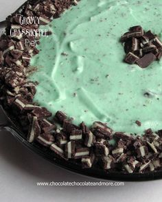 Grasshopper Pie-Chocolate Cookies, Andes Mint Candies and Creme de Menthe Combine to make this delightful frozen treat.