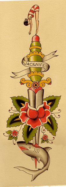 Jacknife Dagger with Shark Tattoo Flash | KYSA #ink #design #tattoo