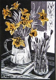 """Spring in the Studio"" linocut by John Liddell. http://www.thearthousegallery.org/artist.aspx?artist_id=190. Tags: Linocut, Cut, Print, Linoleum, Lino, Carving, Block, Woodcut, Helen Elstone, Flowers, Vase, Paintbrushes, Daffodils."