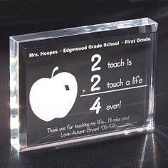 Personalize your 2 Touch A Life 4-ever Teacher Keepsake Paperweight with any Teacher's Name, School Name, Grade and Any Two Line Custom Message.