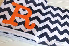 Chevron Stripe Monogrammed Baby Blanket, Navy Chevron Stripe Nursery Bedding, Chevron Baby Blanket, Baby Blanket