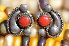Vintage Signed Zuni Sterling Silver Red Coral Pierced Earrings Darlene & Dickie Charlie
