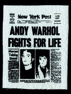 Mini Newspaper - Andy Warhol Patch Newspaper Headline