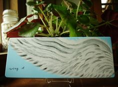 Wings Painting on Wood Wood Block Art Wing It by TheRightJack, $25.00