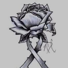 Rose with a cancer ribbon