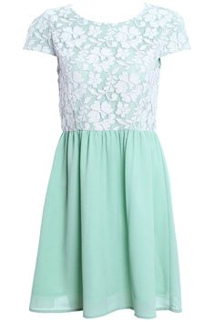 Pleated Mint Dress. Description Mint Dress, featuring floral lace top, round neckline and short sleeves, rear zipper, fitted ,high waist and soft pleated skirt, midi length, soft-touch fabric. The mint color is suitable for summer, and give people cool feeling, floral lace has a kind of lady styling, it's comfortable and elegant, and match with you favorite high-heels.  Fabric Chiffon,Polyester. Washing Cool hand wash with similar colours, do not tumble dry. #Romwe