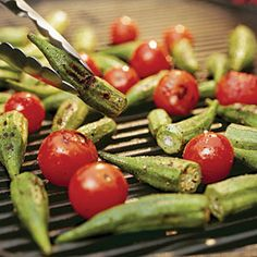 Quick & Easy Sides and Salads | Grilled Okra and Tomatoes | SouthernLiving.com