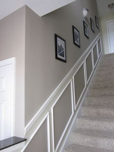 "Benjamin Moore Pismo Dunes & Benjamin Moore Manchester Tan...Great Paint ideas and stairway ""wainscoting"" potential"
